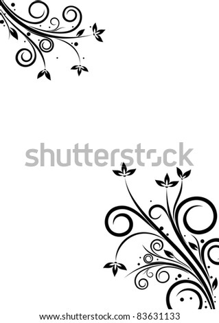 Banner with floral elements on white background - stock vector