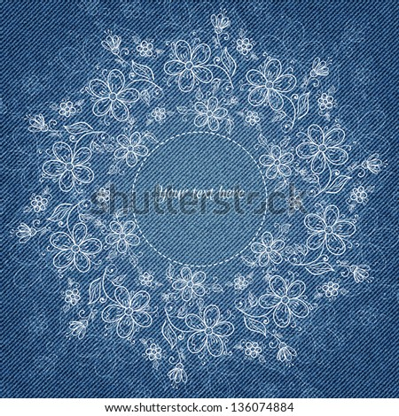Banner with floral hand-drawn pattern and place for your text in vector EPS 10. - stock vector
