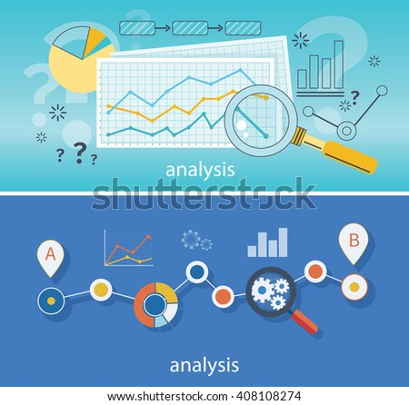 Banner with focused magnifying glass on gear and multicolored pie chart with name Data analysis on blue background. For web construction, mobile applications, banners, corporate brochures, layouts - stock vector
