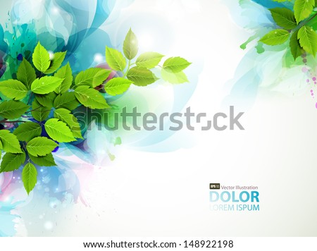 banner with fresh green leaves  - stock vector