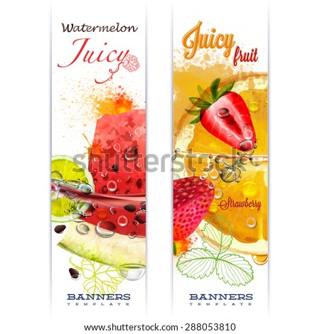 Banner with fruit in water splashes and drops of water juicy fruit watermelon, strawberry, orange, lime, watercolor, author's work. - stock vector