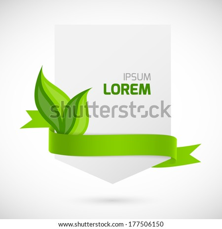 Banner with green ribbon and leaves