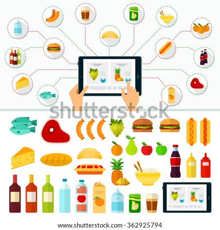 Banner with hands on touchscreen and icons of products. Online products order. Internet shopping. Buy and delivery. Vector flat illustrations for website, mobile, banners, brochures, covers, layouts - stock vector