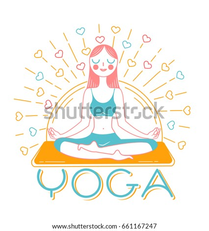 banner with icon of a yoga girl on a background of rays in linear style