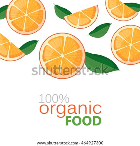 banner with juicy oranges on a white background