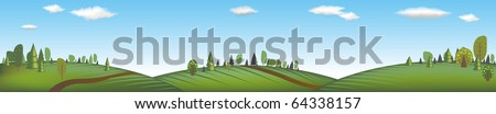 Banner With Landscape, Vector Illustration - stock vector