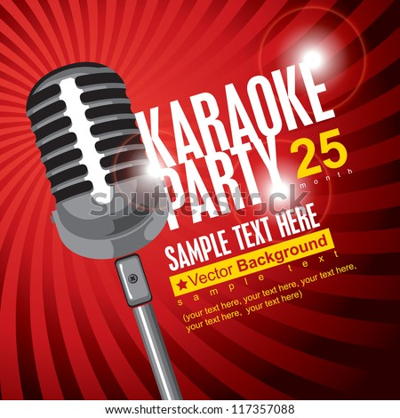 banner with microphone for karaoke parties - stock vector