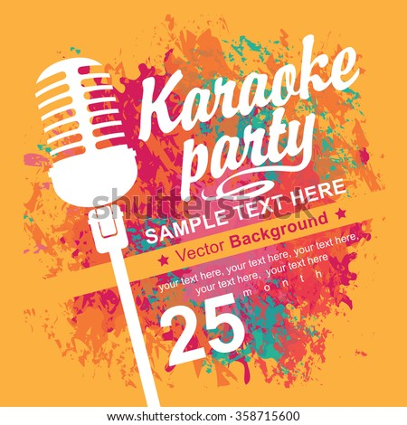 banner with microphone for karaoke parties on the background of colored spots