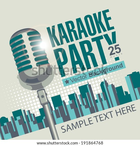 Banner with microphone for karaoke parties over modern city background - stock vector