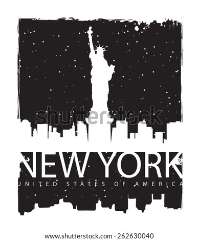 banner with of New York City, Statue of Liberty at night - stock vector