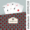 banner with playing cards and crown - stock vector