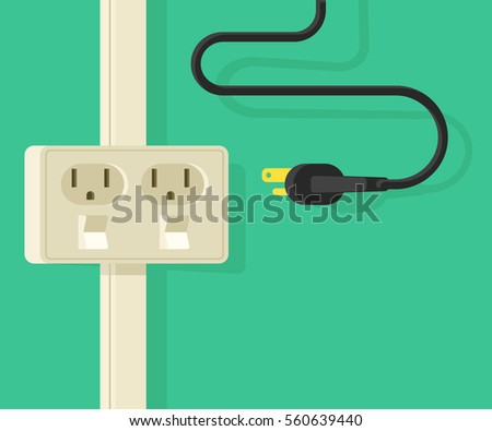 Banner with power outlet type and electric plug. 3d Flat vector illustration