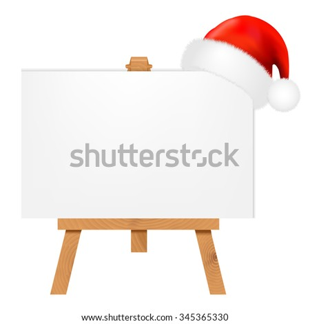 Banner With Santa Claus Cap With Gradient Mesh, Vector Illustration - stock vector