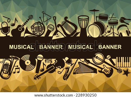 Banner with silhouettes of musical instruments - stock vector