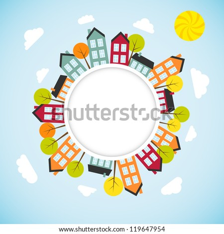 Banner with small town. Vector illustration. - stock vector