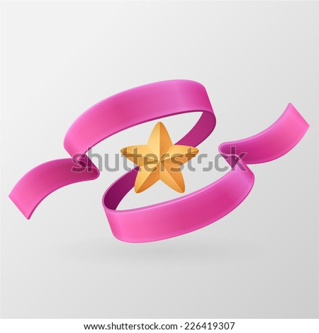 Banner with Space For Text (Vector). Star decorated with pink ribbon. Vintage ribbon retro style. Vector design element. Isolated on a gray background.