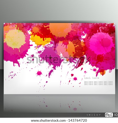 Banner with splash on abstract background - stock vector