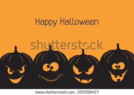 Banner with spooky and crazy Halloween pumpkins