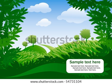 banner with summer landscape and sky - stock vector