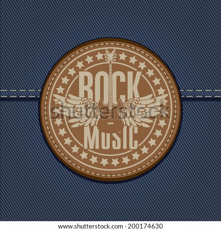 banner with the emblem of rock music and the guitar on the background of denim - stock vector