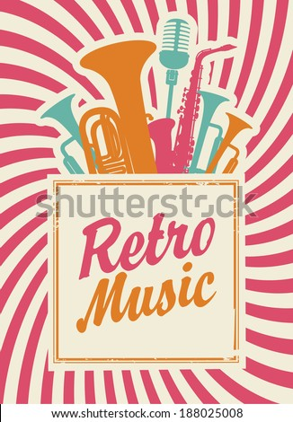 banner with the inscription retro music, woodwinds and microphone - stock vector