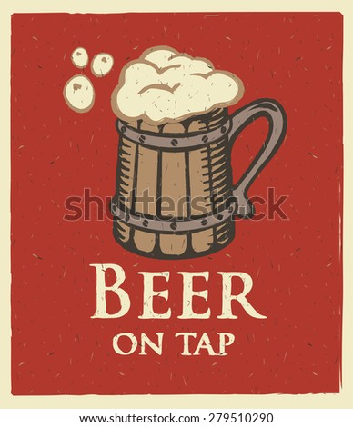 banner with wooden glass of beer on tap - stock vector