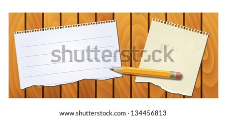 banner wood texture with notepad and pencil