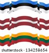 banners and flags of baltic states. vector illustration - stock photo