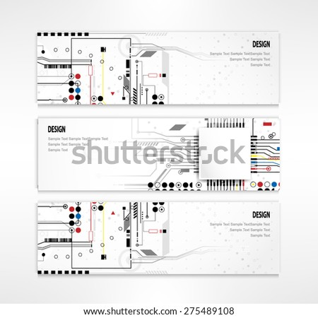 banners business Circuit board design vector - stock vector