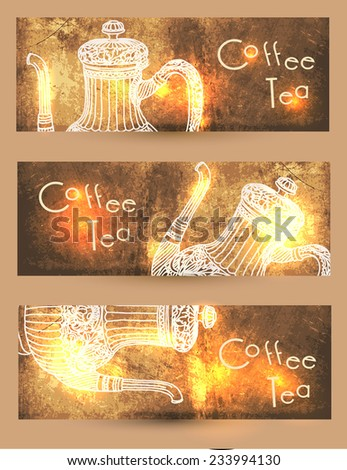 Banners coffee. Set - stock vector