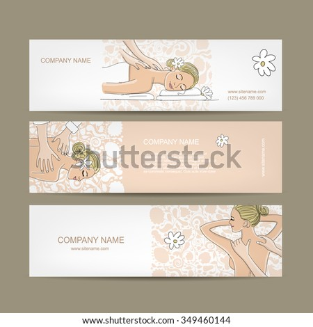 Banners design, women in spa saloon. Vector illustration - stock vector