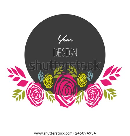 banners, floral frames, black Circle  - stock vector