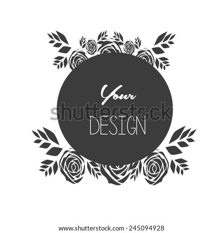 banners, floral frames, black Circle, your design - stock vector