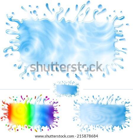 Banners from water, color paint, splashes, streams, drops and stains; Set B; Eps10; No Mesh - stock vector
