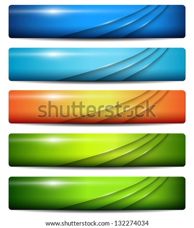 Banners, headers colorful glossy, vector. - stock vector