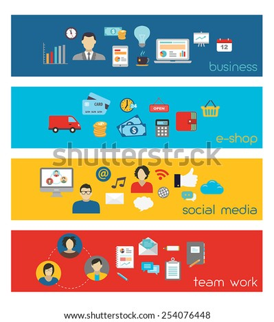 Banners illustrating business, social media and team work. - stock vector