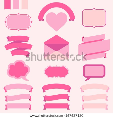 Banners, labels and ribbons for design invitation cards. - stock vector