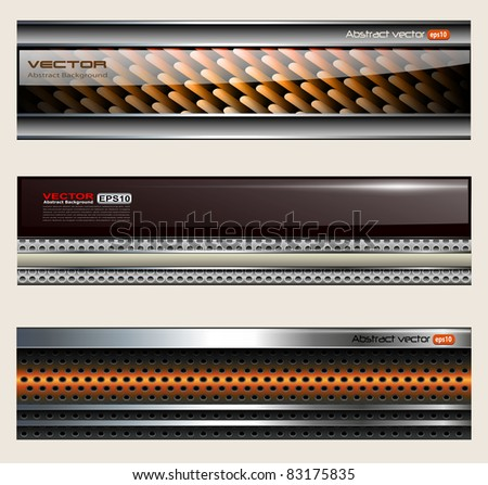 Banners, metallic set, modern backgrounds design, vector. - stock vector
