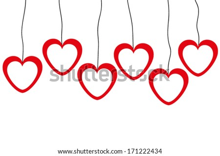 banners of red and white hearts on a clothesline