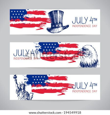 Banners of 4th July backgrounds with American flag. Independence Day hand drawn sketch design  - stock vector