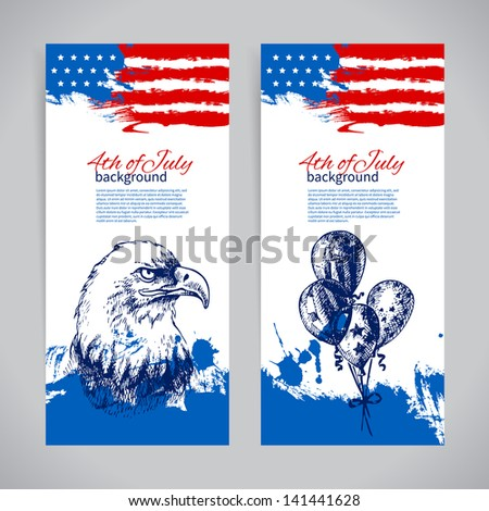 Banners of 4th July backgrounds with American flag. Independence Day vintage hand drawn design - stock vector