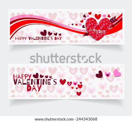 Banners of valentines day. Vector illustration. invitation, card or tags. Modern style. Background with hearts. - stock vector