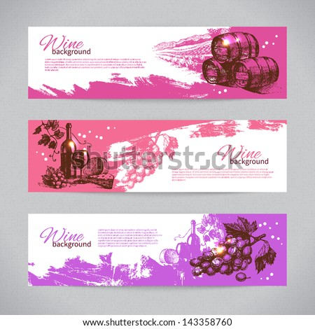 Banners of wine vintage background. Hand drawn illustrations - stock vector