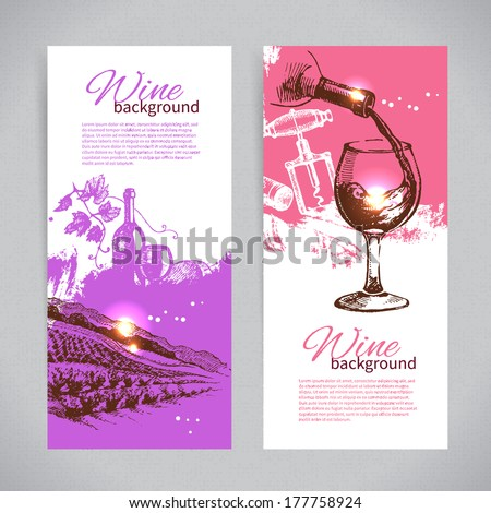 Banners of wine vintage background. Hand drawn sketch illustrations - stock vector