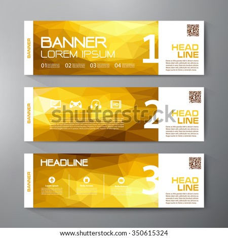 Banners set for business modern design. Polygonal geometric backgrounds. Vector and illustration - stock vector