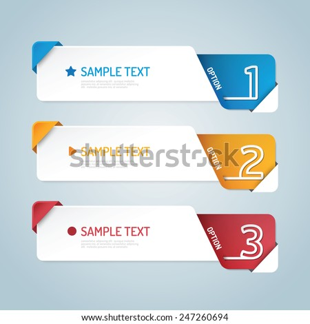 Banners set number modern design vector.  - stock vector