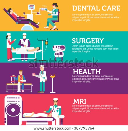 Banners set of clinic dental, surgery, health care and medical examination doctor collection concept. Vector business medicine flat icons in retro style background design - stock vector