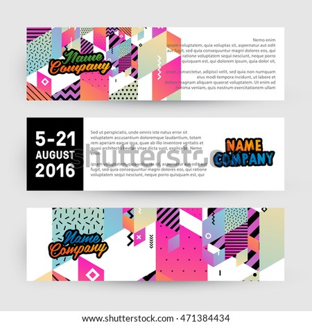 Banners set, trendy geometric flat pattern, frame with abstract background for brochure, flyer or presentations design, vector illustration.