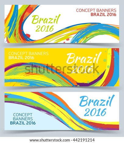 Banners set, vector template with colored lines and waves, Abstract vector banner design. 2016 Brazil.  - stock vector