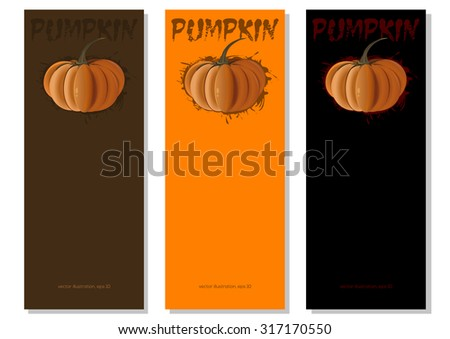 Banners set with pumpkins. Vector illustration.